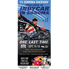 The Sonoma Raceway: Indy Car cover features an American flag and a race car driver.
