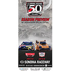 The Sonoma Raceway: 50th cover features two race cars.