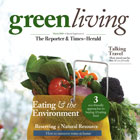 A bag of groceries is shows on the cover of Green Living.